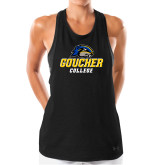 Ladies Under Armour Black Pinhole Tank-Goucher College Stacked