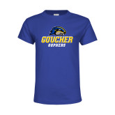 Youth Royal T Shirt-Goucher Gophers Stacked