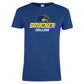 Ladies Royal T Shirt-Goucher College Stacked