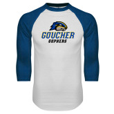 White/Royal Raglan Baseball T Shirt-Goucher Gophers Stacked