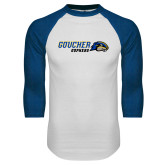 White/Royal Raglan Baseball T Shirt-Goucher Gophers Horizontal