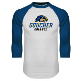 White/Royal Raglan Baseball T Shirt-Goucher College Stacked