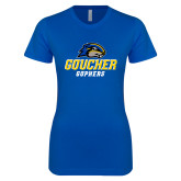 Next Level Ladies SoftStyle Junior Fitted Royal Tee-Goucher Gophers Stacked