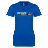 Next Level Ladies SoftStyle Junior Fitted Royal Tee-Goucher Gophers Horizontal