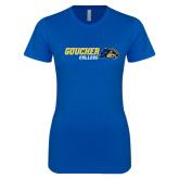 Next Level Ladies SoftStyle Junior Fitted Royal Tee-Goucher College Horizontal