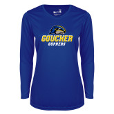 Ladies Syntrel Performance Royal Longsleeve Shirt-Goucher Gophers Stacked
