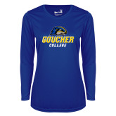 Ladies Syntrel Performance Royal Longsleeve Shirt-Goucher College Stacked