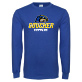 Royal Long Sleeve T Shirt-Goucher Gophers Stacked