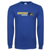 Royal Long Sleeve T Shirt-Goucher Gophers Horizontal