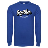 Royal Long Sleeve T Shirt-Goucher College Script