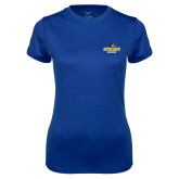 Ladies Syntrel Performance Royal Tee-Goucher Gophers Stacked