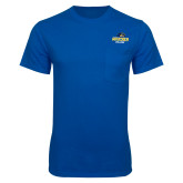 Royal T Shirt w/Pocket-Goucher College Stacked