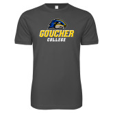 Next Level SoftStyle Charcoal T Shirt-Goucher College Stacked