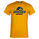 Gold T Shirt-Goucher Gophers Stacked