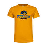 Youth Gold T Shirt-Goucher Gophers Stacked