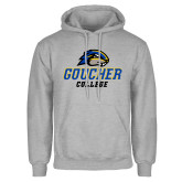 Grey Fleece Hoodie-Goucher College Stacked