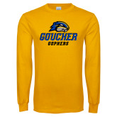 Gold Long Sleeve T Shirt-Goucher Gophers Stacked