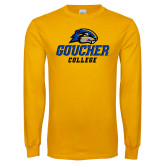 Gold Long Sleeve T Shirt-Goucher College Stacked