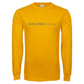 Gold Long Sleeve T Shirt-College Wordmark