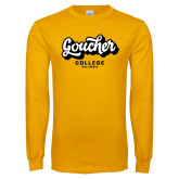 Gold Long Sleeve T Shirt-Goucher College Script