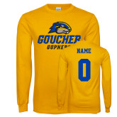 Gold Long Sleeve T Shirt-Goucher Gophers Stacked, Custom tee w/ name and #