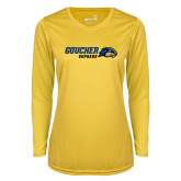 Ladies Syntrel Performance Gold Longsleeve Shirt-Goucher Gophers Horizontal