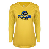 Ladies Syntrel Performance Gold Longsleeve Shirt-Goucher College Stacked