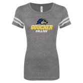 ENZA Ladies Dark Heather/White Vintage Football Tee-Goucher College Stacked
