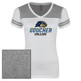 Ladies White/Heathered Grey Juniors Varsity V Neck Tee-Goucher College Stacked