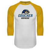 White/Gold Raglan Baseball T Shirt-Goucher Gophers Stacked