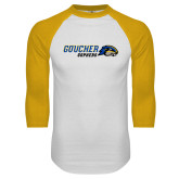 White/Gold Raglan Baseball T Shirt-Goucher Gophers Horizontal