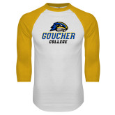 White/Gold Raglan Baseball T Shirt-Goucher College Stacked