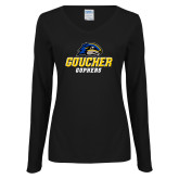 Ladies Black Long Sleeve V Neck Tee-Goucher Gophers Stacked
