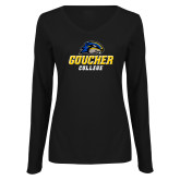 Ladies Black Long Sleeve V Neck Tee-Goucher College Stacked