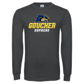 Charcoal Long Sleeve T Shirt-Goucher Gophers Stacked