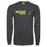Charcoal Long Sleeve T Shirt-Goucher Gophers Horizontal
