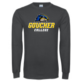 Charcoal Long Sleeve T Shirt-Goucher College Stacked
