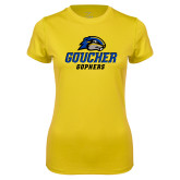 Ladies Syntrel Performance Gold Tee-Goucher Gophers Stacked