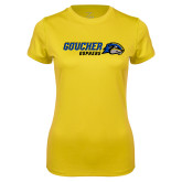 Ladies Syntrel Performance Gold Tee-Goucher Gophers Horizontal
