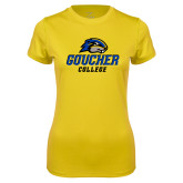 Ladies Syntrel Performance Gold Tee-Goucher College Stacked