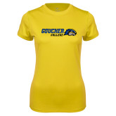 Ladies Syntrel Performance Gold Tee-Goucher College Horizontal