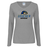 Ladies Grey Long Sleeve V Neck Tee-Goucher Gophers Stacked