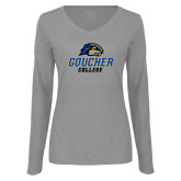 Ladies Grey Long Sleeve V Neck Tee-Goucher College Stacked