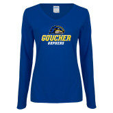 Ladies Royal Long Sleeve V Neck Tee-Goucher Gophers Stacked