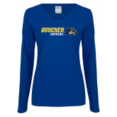 Ladies Royal Long Sleeve V Neck Tee-Goucher Gophers Horizontal