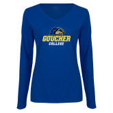 Ladies Royal Long Sleeve V Neck Tee-Goucher College Stacked