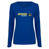 Ladies Royal Long Sleeve V Neck Tee-Goucher College Horizontal