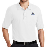 White Easycare Pique Polo-Goucher College Stacked