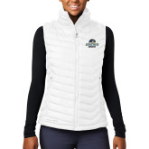 Columbia Lake 22 Ladies White Vest-Goucher Gophers Stacked