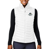 Columbia Lake 22 Ladies White Vest-Goucher College Stacked